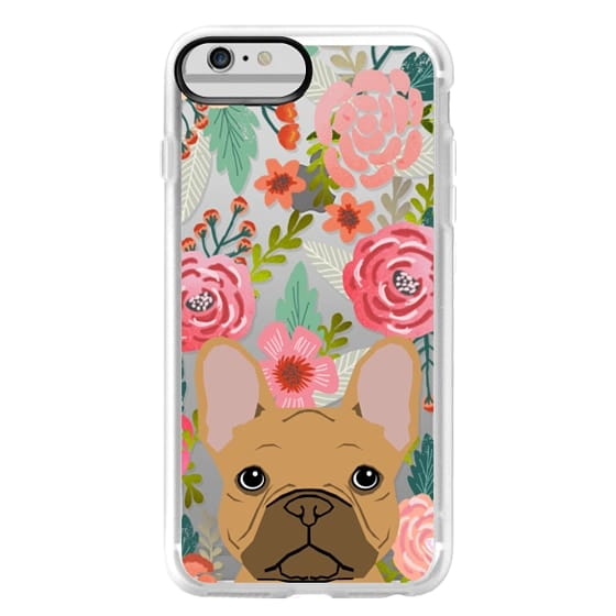 iPhone 6 Plus Cases - French Bulldog tan cute pet portrait florals spring summer flowers transparent cell phone case