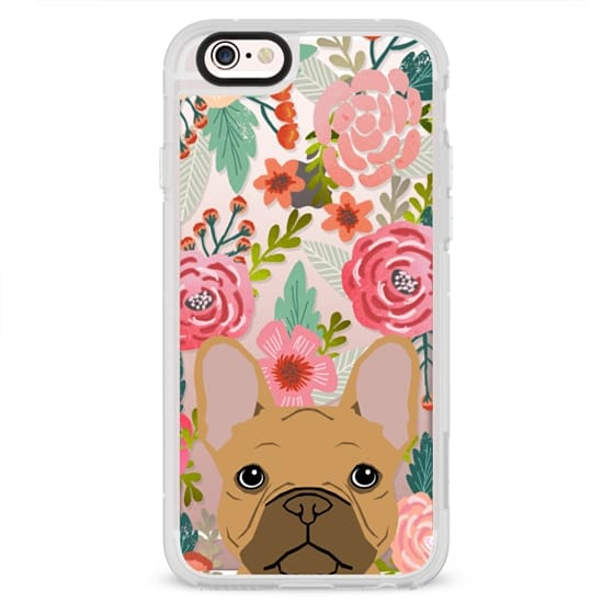 iPhone 4 Cases - French Bulldog tan cute pet portrait florals spring summer flowers transparent cell phone case