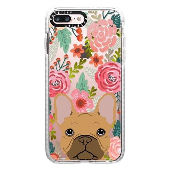 iPhone 7 Plus Cases - French Bulldog tan cute pet portrait florals spring summer flowers transparent cell phone case