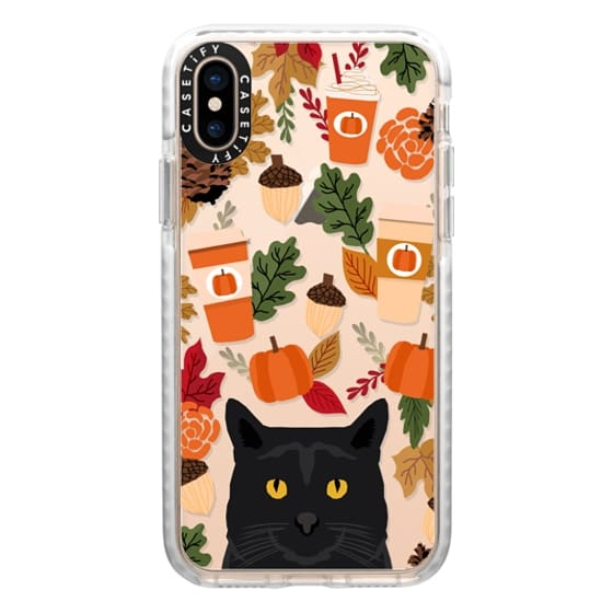 iPhone XS Cases - black cat must have gifts for fall autumn pumpkin spiced latte coffee cell phone case