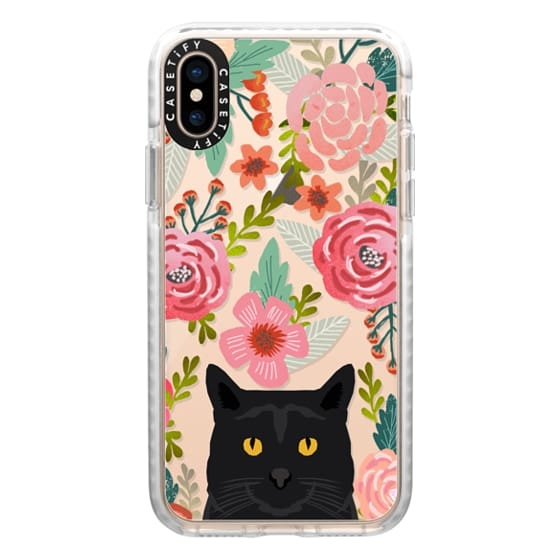 iPhone XS Cases - Black Cat Florals - cute cat cellphone spring vintage florals painted girly trend clear cell phone case for cat ladies
