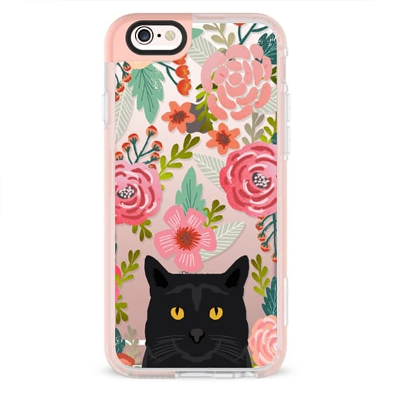 iPhone 6s Cases - Black Cat Florals - cute cat cellphone spring vintage florals painted girly trend clear cell phone case for cat ladies