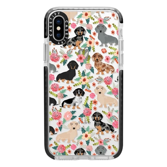 iPhone X Cases - Dachshunds mixed coat colors dog breed pet portrait clear cases for dog lovers custom dog breed gifts by pet friendly