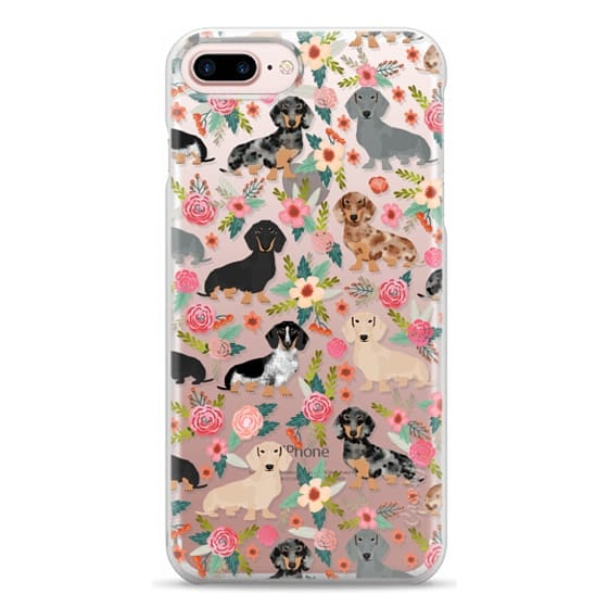iPhone 7 Plus Cases - Dachshunds mixed coat colors dog breed pet portrait clear cases for dog lovers custom dog breed gifts by pet friendly