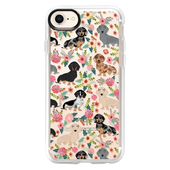 iPhone 8 Cases - Dachshunds mixed coat colors dog breed pet portrait clear cases for dog lovers custom dog breed gifts by pet friendly