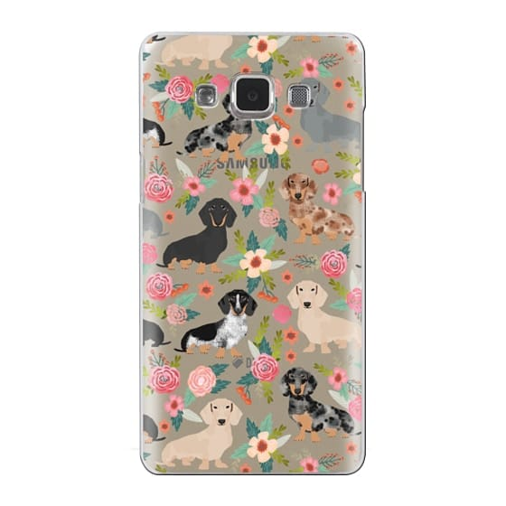 Samsung Galaxy A5 Cases - Dachshunds mixed coat colors dog breed pet portrait clear cases for dog lovers custom dog breed gifts by pet friendly