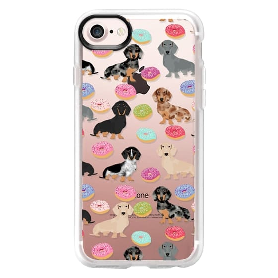 iPhone 7 Cases - Dachshund donuts cute funny clear case for doxie owners must have gifts tech accessories for dog person