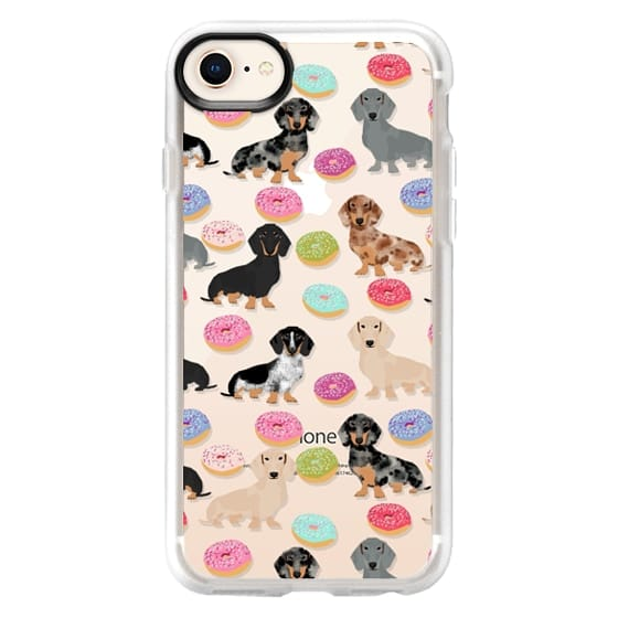 iPhone 8 Cases - Dachshund donuts cute funny clear case for doxie owners must have gifts tech accessories for dog person