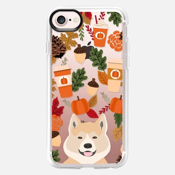 akita funny cell phone case pumpkin spice latte fall autumn leaves transparent cell phone case -