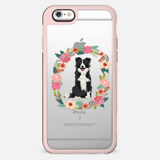 border collie bw floral wreath clear case new iphone dog lover pet friendly - New Standard Case