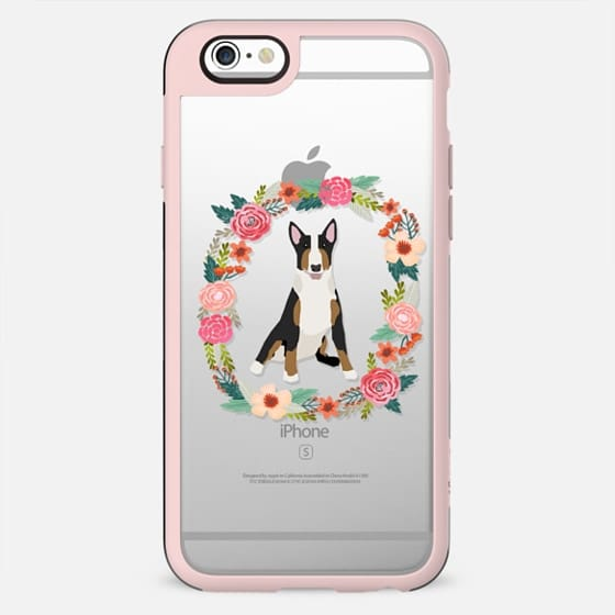 bull terrier tricolored floral wreath clear case new iphone dog lover pet friendly