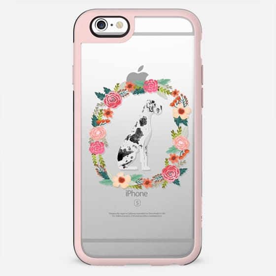 great dane floral wreath clear case new iphone dog lover pet friendly - New Standard Case