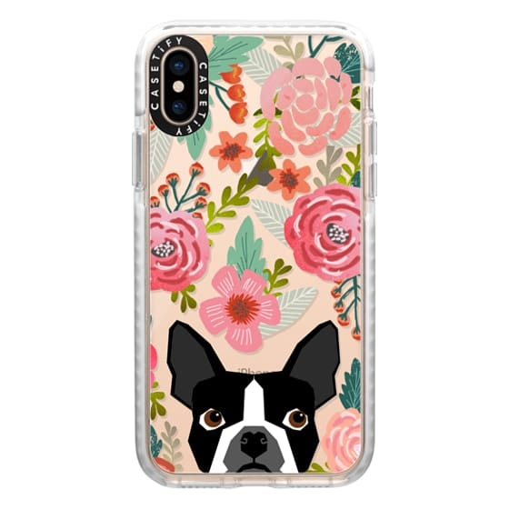 iPhone XS Cases - Boston Terrier Spring - vintage florals iphone6 case, boston terrier cell phone case, boston terrier spring flowers, vintage florals phone case, boston terrier cute phone case for trendy girl