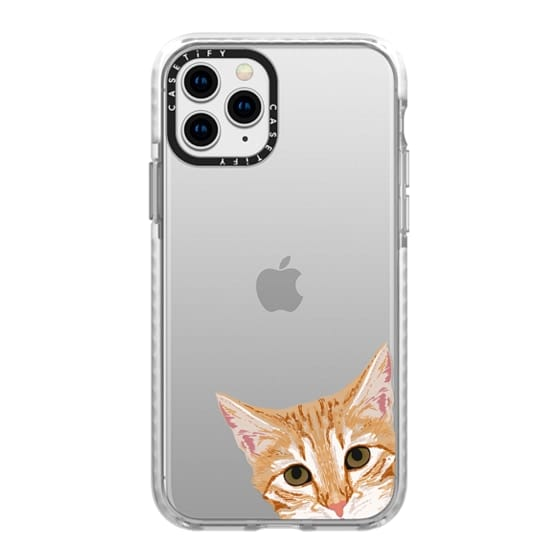 iPhone 11 Pro Cases - Peeking Cat - transparent funny meme cat face for cat lady cat people cases