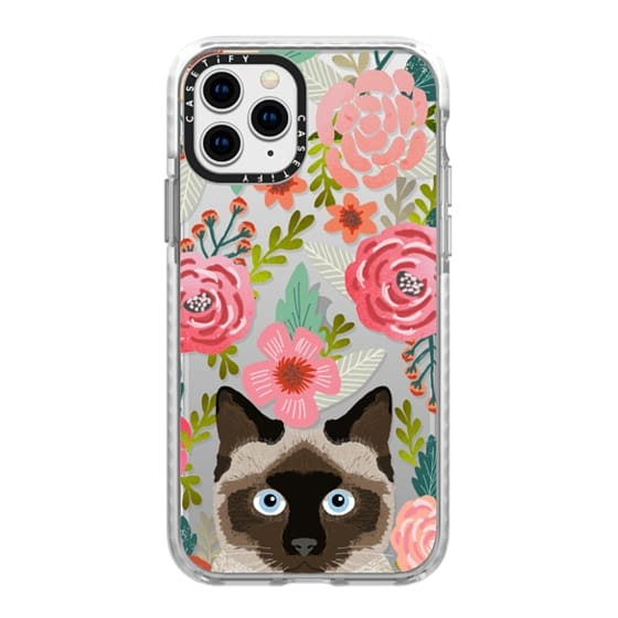 iPhone 11 Pro Cases - Siamese Cat Florals - spring time cute flowers cats painted watercolor floral clear phone case for cat ladies and trendy girls