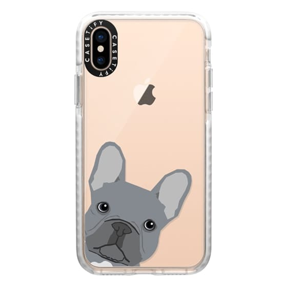 iPhone XS Cases - Grey French Peeking funny french bulldog pet gift for small dog owner perfect gift for frenchie dog owner