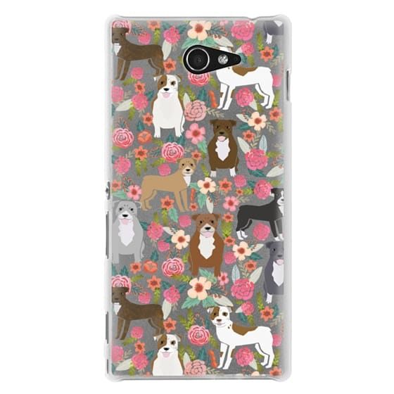 Sony M2 Cases - Pit Bull florals dog gifts for pit bull owners must haves pet friendly tech accessories
