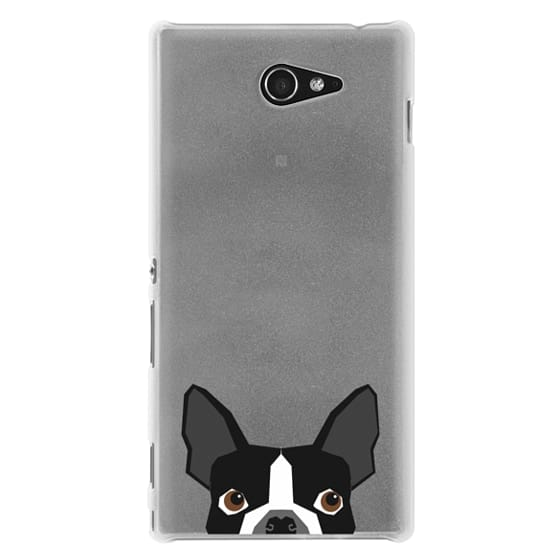 Sony M2 Cases - Boston Terrier Cell Phone case for dog lovers dog person gifts clear iphone case black and white puppy