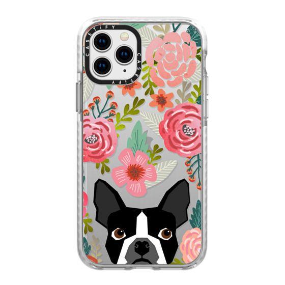 iPhone 11 Pro Cases - Boston Terrier Spring - vintage florals iphone6 case, boston terrier cell phone case, boston terrier spring flowers, vintage florals phone case, boston terrier cute phone case for trendy girl