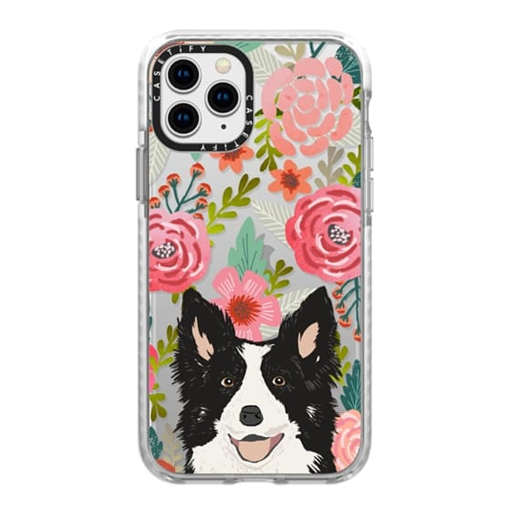 iPhone 11 Pro Cases - Border Collie cute happy puppy dog transparent cell phone case flowers florals iphone6 dog cases