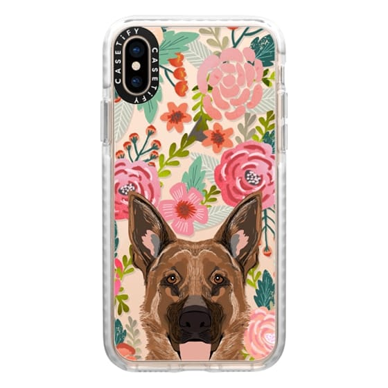 iPhone XS Cases - German Shepherd florals cute flower cell phone case with German Shepherd transparent iphone6 case