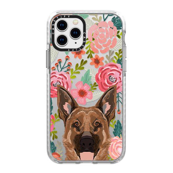 iPhone 11 Pro Cases - German Shepherd florals cute flower cell phone case with German Shepherd transparent iphone6 case