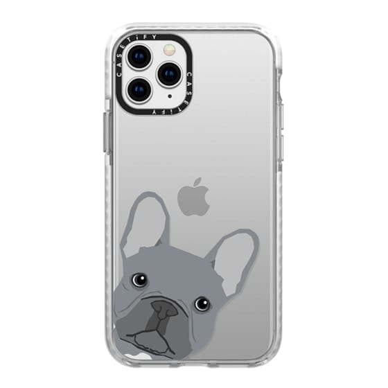 iPhone 11 Pro Cases - Grey French Peeking funny french bulldog pet gift for small dog owner perfect gift for frenchie dog owner