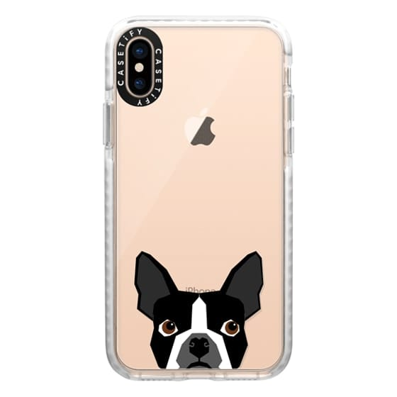 iPhone XS Cases - Boston Terrier Cell Phone case for dog lovers dog person gifts clear iphone case black and white puppy