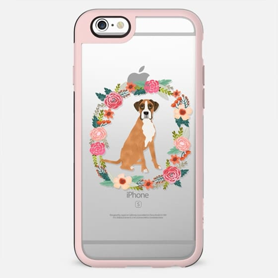 boxer floral wreath clear case new iphone dog lover pet friendly