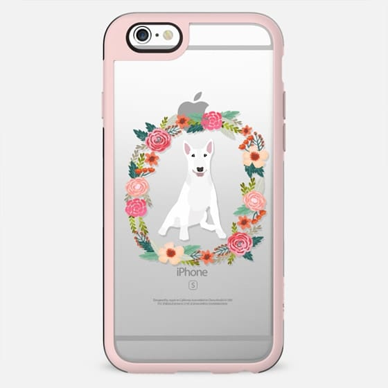 bull terrier white floral wreath clear case new iphone dog lover pet friendly