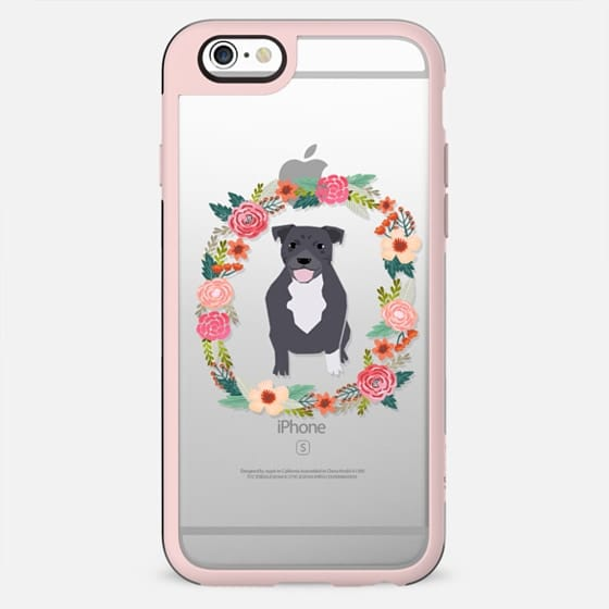 pitbull grey clear case dog breed cute floral wreath pet friendly pupper gifts