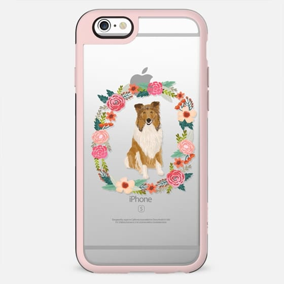 rough collie clear case dog breed cute floral wreath pet friendly pupper gifts - New Standard Case