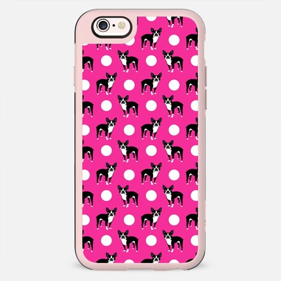 Boston Terrier - polka dotted hot pink pattern design for dog people girly boston terrier phone case - New Standard Case