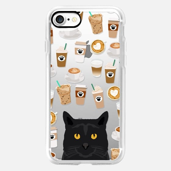 Black Cat cell phone case for cat lady coffee lovers -