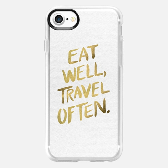Eat Well Travel Often (Gold) - Wallet Case