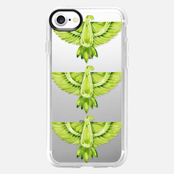 Lime Green Parrots – Transparent - Wallet Case