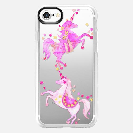 Unicorns – Pink Ombré on Transparent - Wallet Case