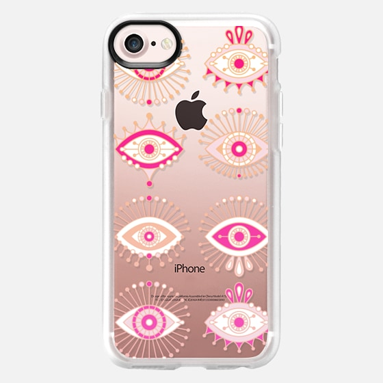 Evil Eyes - Pink/Peach Ombré on Transparent - Wallet Case