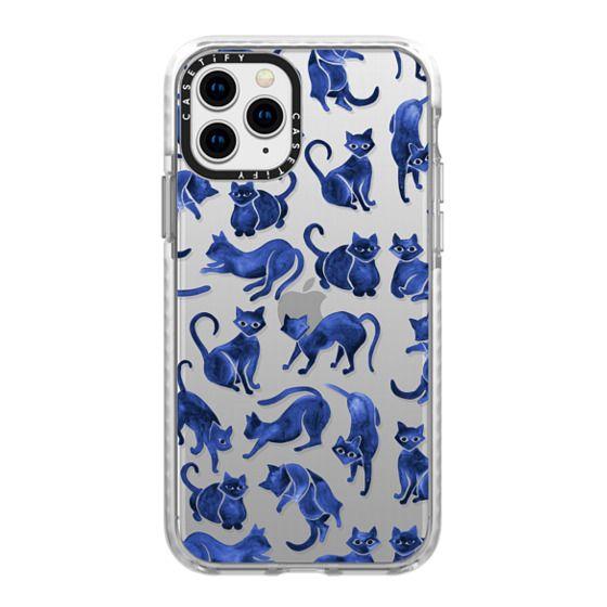 iPhone 11 Pro Cases - Cat Positions - Navy Palette (Transparent)