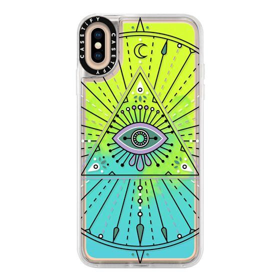 iPhone XS Max Cases - Evil Eye Mandala – Black on Transparent