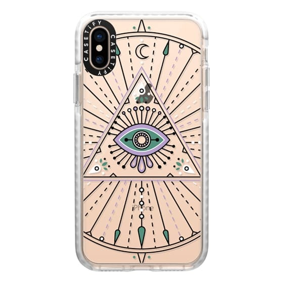iPhone XS Cases - Evil Eye Mandala – Black on Transparent