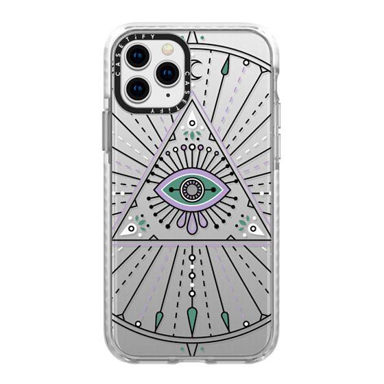 iPhone 11 Pro Cases - Evil Eye Mandala – Black on Transparent