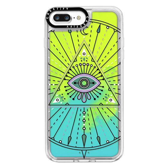 iPhone 7 Plus Cases - Evil Eye Mandala – Black on Transparent