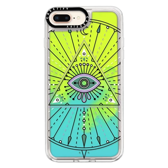 iPhone 8 Plus Cases - Evil Eye Mandala – Black on Transparent