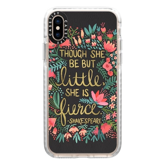 iPhone XS Cases - Little & Fierce on Charcoal