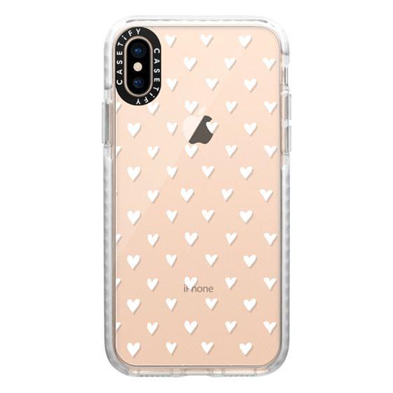iPhone XS Cases - Mini Heart - White