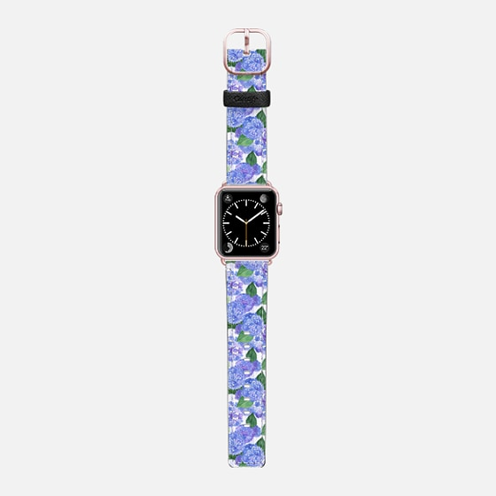 Blue Watercolor Hydrangeas (watch) - Saffiano Leather Watch Band