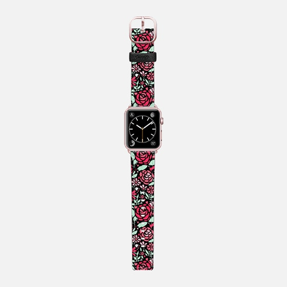 Pink Rose Garden - black (watch) - Saffiano Leather Watch Band