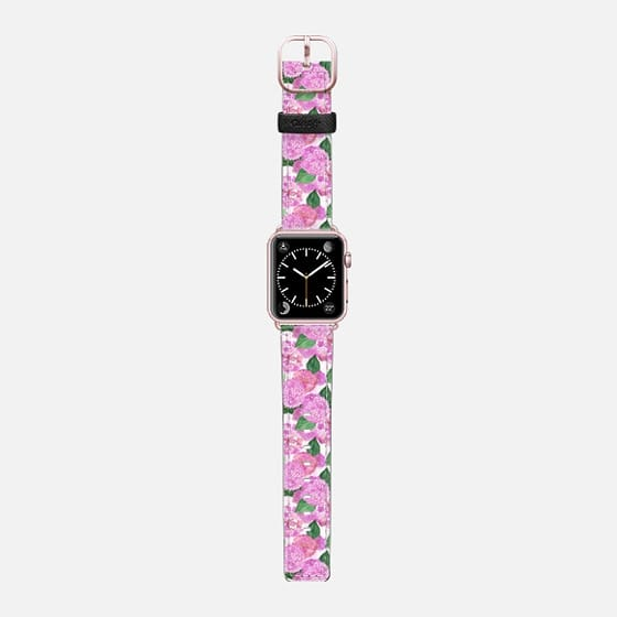 Pink Watercolor Hydrangeas (watch) - Saffiano Leather Watch Band