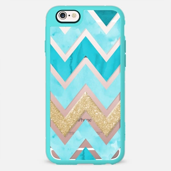 Teal and Glitter Watercolor Chevron -